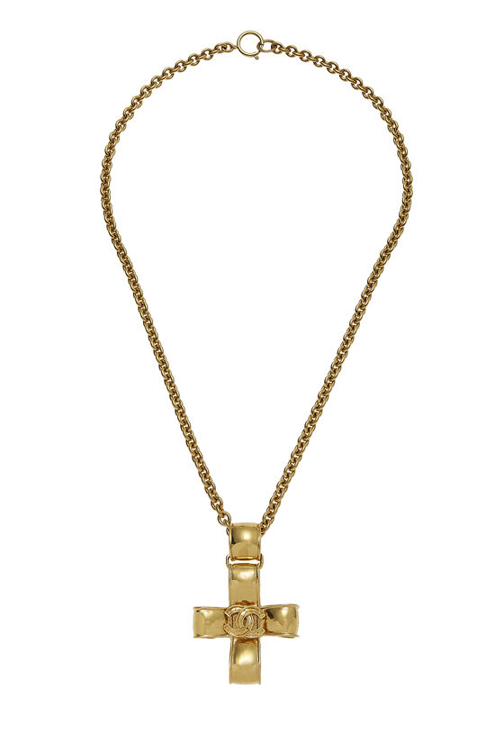 Gold Ribbon Cross Necklace, , large image number 0