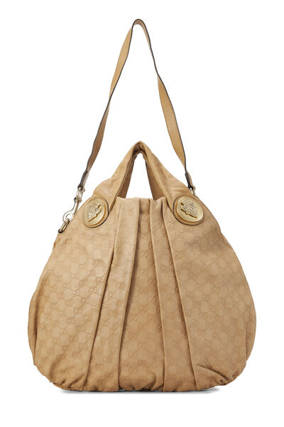 Beige Gucci Signature Leather Hysteria Convertible Tote Large, , large