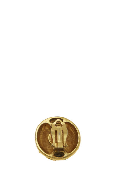 Gold & Crystal 'CC' Button Earrings, , large