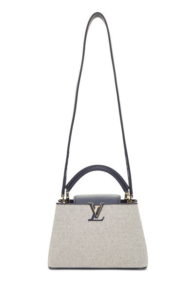 Natural Canvas & Navy Leather Capucines BB, , large