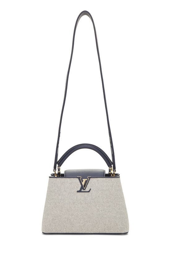 Natural Canvas & Navy Leather Capucines BB, , large image number 1