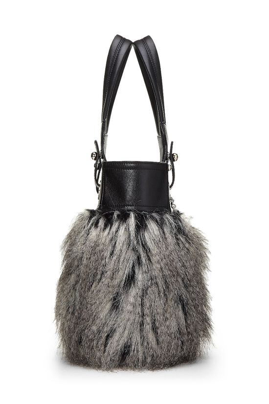 Black Leather & Fantasy Fur Paris Biarritz Tote, , large image number 2