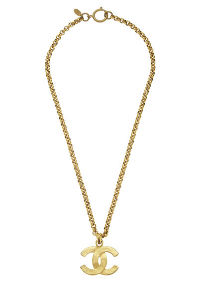 Gold Textured 'CC' Necklace