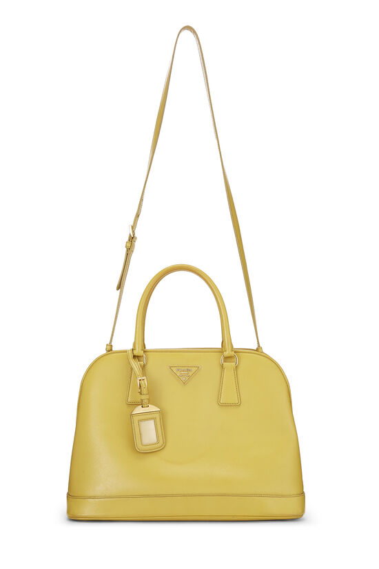 Yellow Vernice Saffiano Dome Tote, , large image number 6