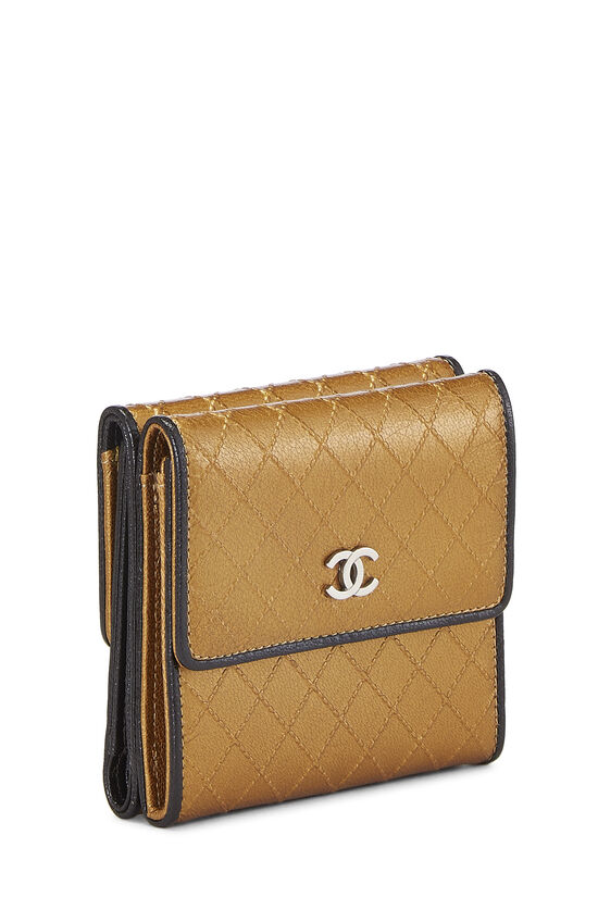 Gold Quilted Calfskin Compact Wallet, , large image number 1