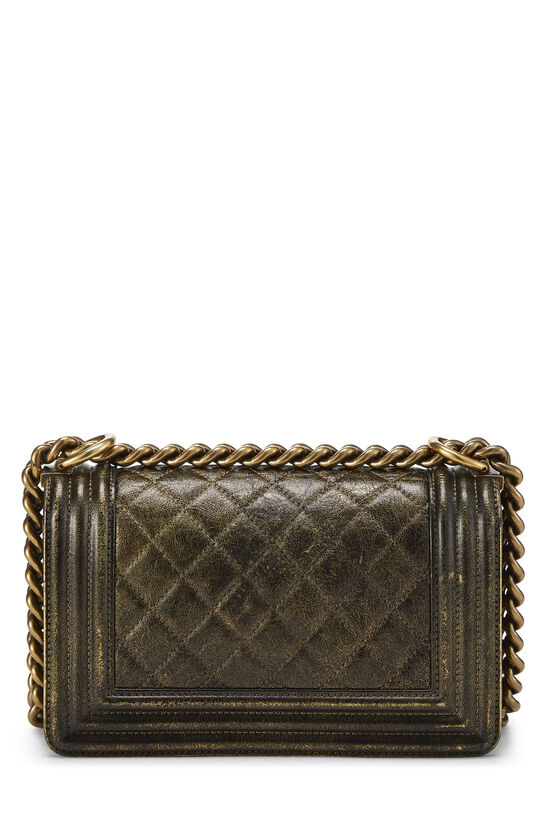 Metallic Brown Quilted Calfskin Boy Bag Small, , large image number 4