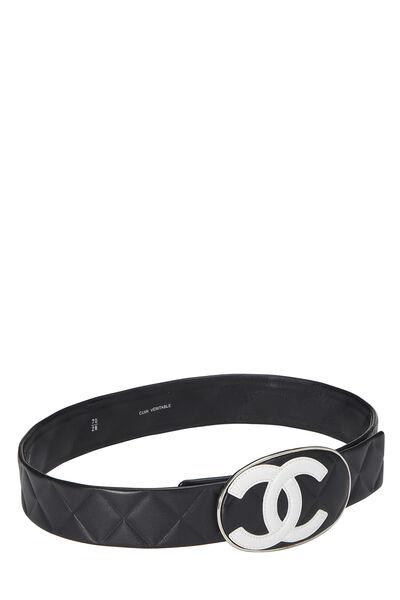 Black Quilted Calfskin Oval 'CC' Belt, , large