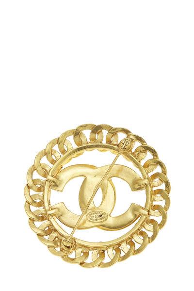 Gold 'CC' Chain Border Pin Large, , large