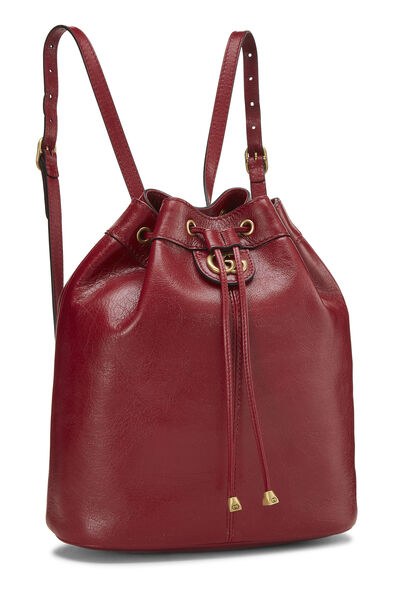 Red Leather (RE)BELLE Convertible Bucket Bag, , large