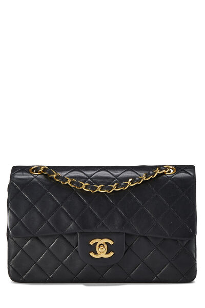 Black Quilted Lambskin Classic Double Flap Small