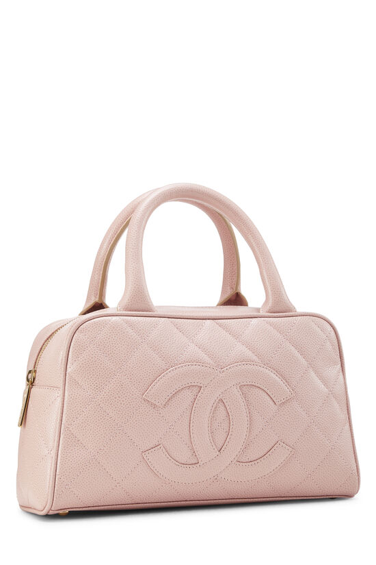 Pink Quilted Caviar Bowler Mini, , large image number 1