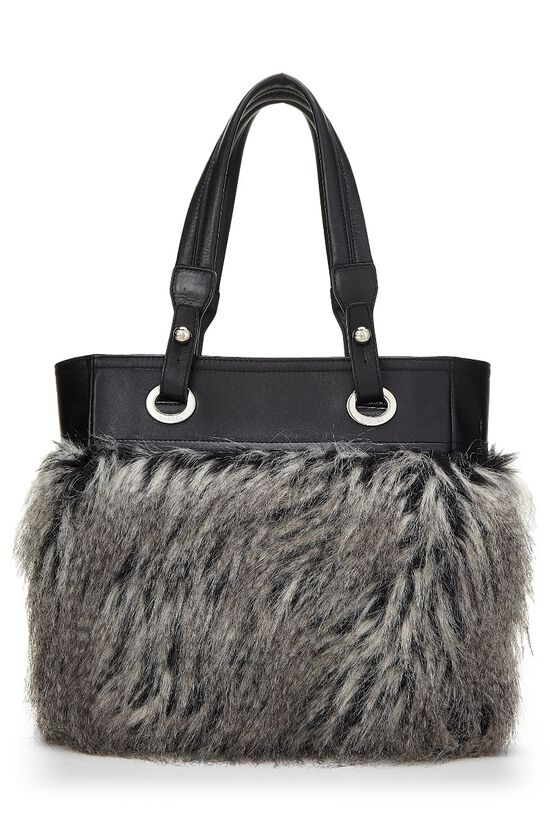 Black Leather & Fantasy Fur Paris Biarritz Tote, , large image number 3