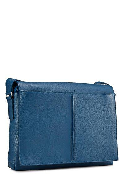 Homme Blue Leather Messenger Bag, , large