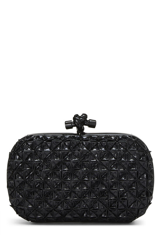 Black Patent Leather Origami Knot Clutch, , large image number 0