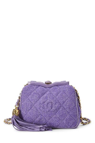 Purple Quilted Tweed Kiss Lock Belt Bag