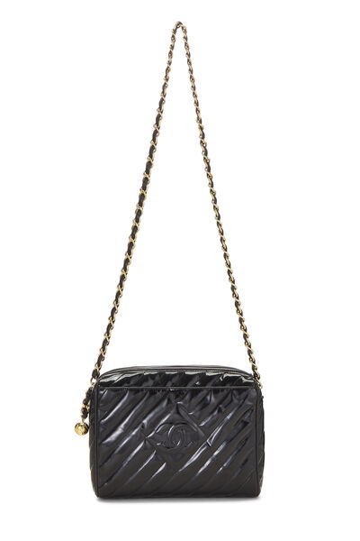 Black Patent Leather Diagonal Camera Bag Large, , large