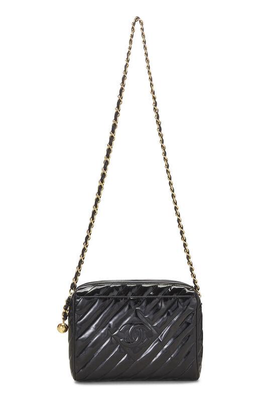 Black Patent Leather Diagonal Camera Bag Large, , large image number 1