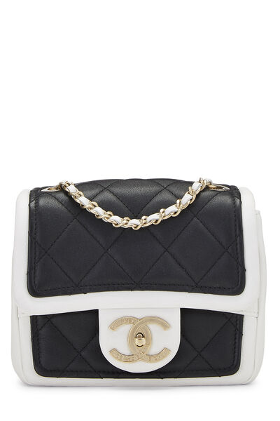 Black & White Quilted Lambskin Classic Square Flap Mini