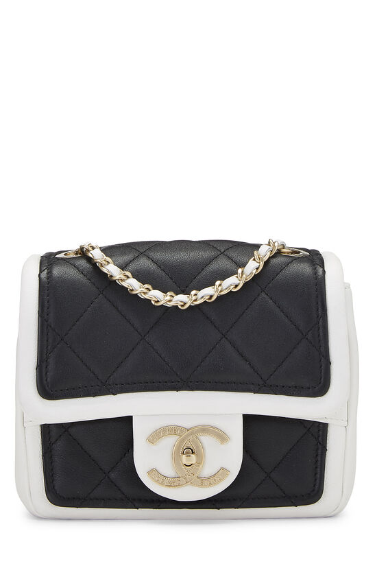 Black & White Quilted Lambskin Classic Square Flap Mini, , large image number 0