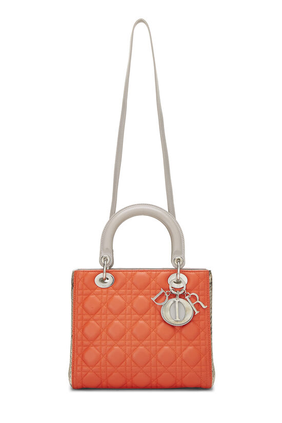Orange Cannage Quilted Lambskin & Python Lady Dior Medium, , large image number 6