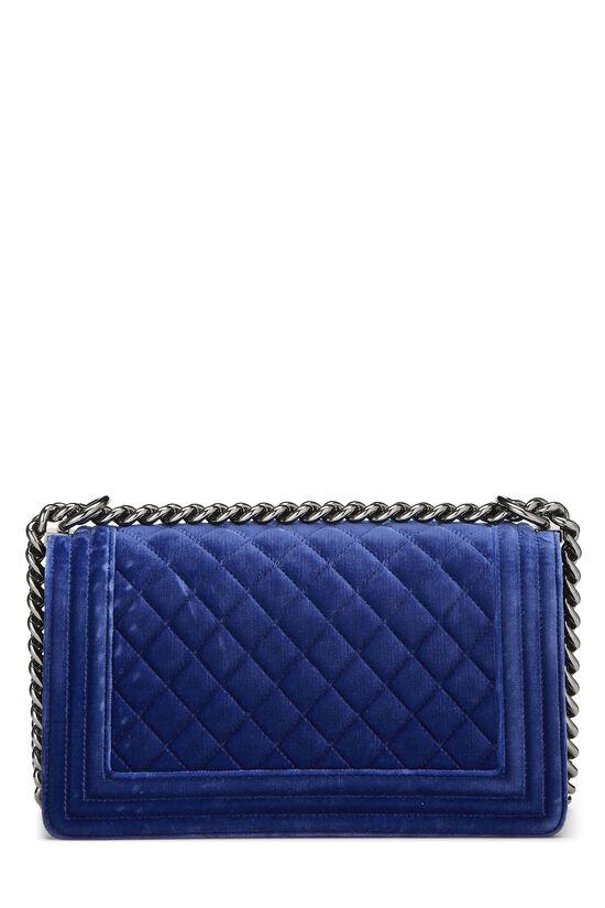 Blue Quilted Velvet Boy Bag Medium, , large image number 3