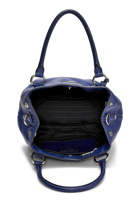 Blue Vitello Daino Shoulder Bag, , large image number 5