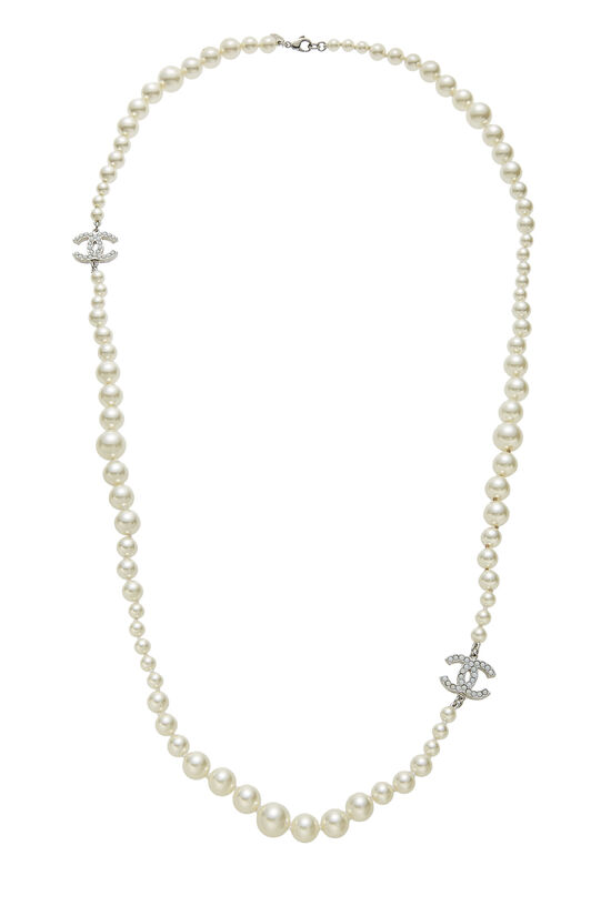 Faux Pearl 'CC' Long Necklace, , large image number 0