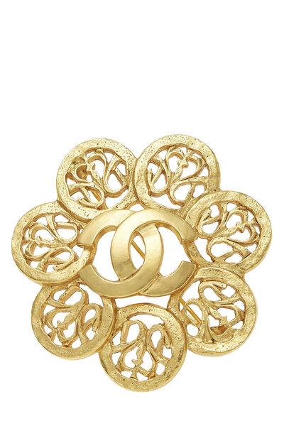 Gold 'CC' Fretwork Flower PIn