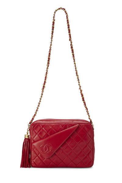Red Diagonal Lambskin 'CC' Camera Bag Medium, , large