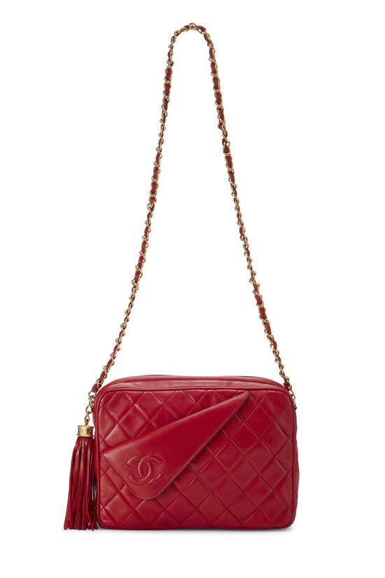 Red Diagonal Lambskin 'CC' Camera Bag Medium, , large image number 1