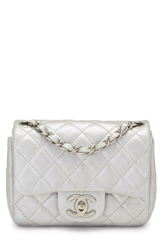 Metallic Silver Quilted Lambskin Classic Square Flap Mini, , large image number 0
