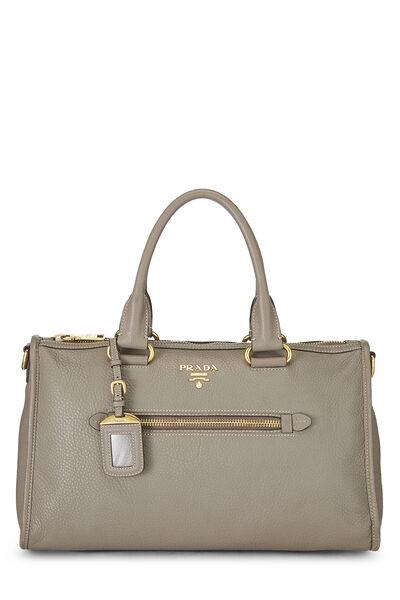 Grey Vitello Daino Boston Bag