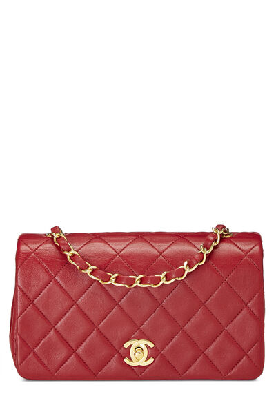 Red Quilted Lambskin Full Flap Mini