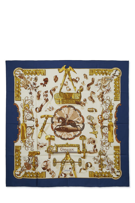 Navy & Multicolor 'Copeaux' Silk Scarf 90, , large image number 0