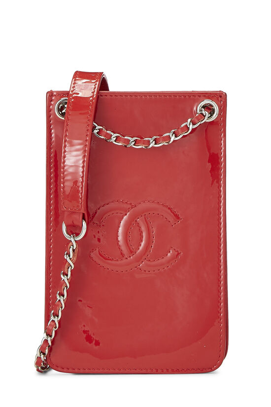 Red Patent Leather 'CC' Phone Holder, , large image number 0