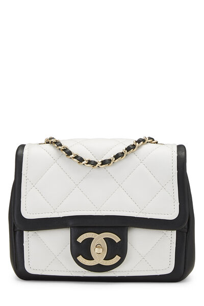 White & Black Quilted Lambskin Classic Square Flap Mini