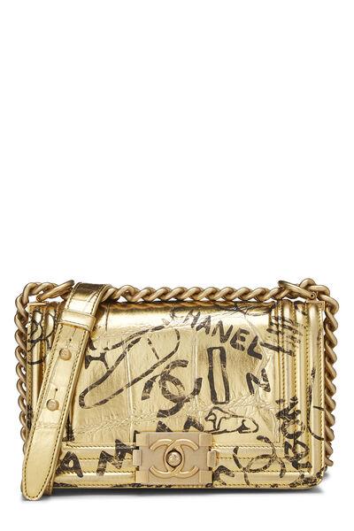 Paris-New York Gold Embossed Graffiti Boy Bag Small