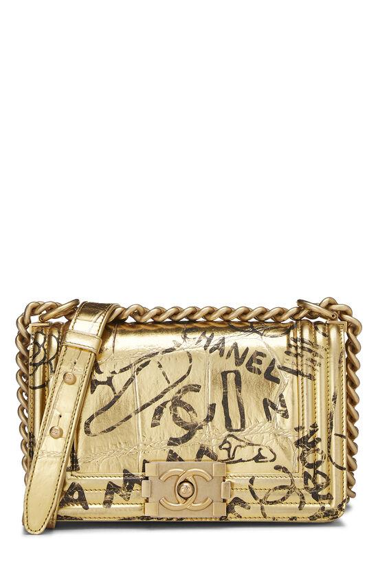 Paris-New York Gold Embossed Graffiti Boy Bag Small, , large image number 0