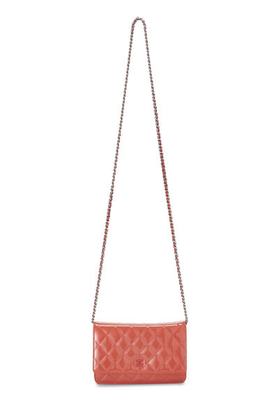 Coral Quilted Patent Leather Classic Wallet On Chain (WOC), , large