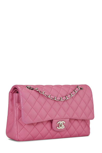Pink Quilted Caviar Classic Double Flap Medium, , large