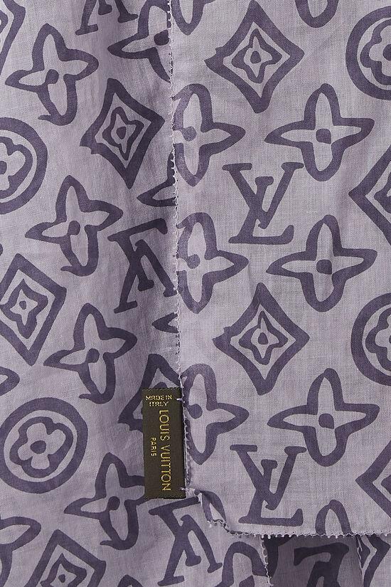 Purple Monogram Cotton Tahitienne Stole, , large image number 1
