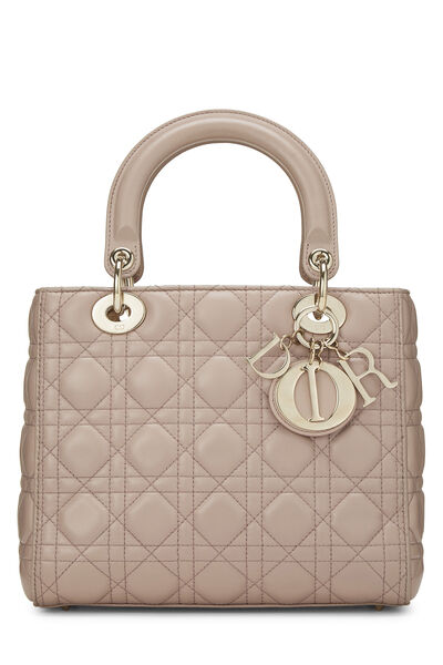 Taupe Cannage Quilted Lambskin Lady Dior Medium
