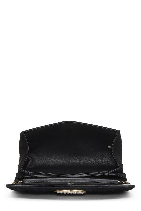 Black Quilted Suede Embellished 'CC' Clutch, , large image number 5