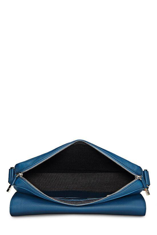 Homme Blue Leather Messenger Bag, , large image number 5