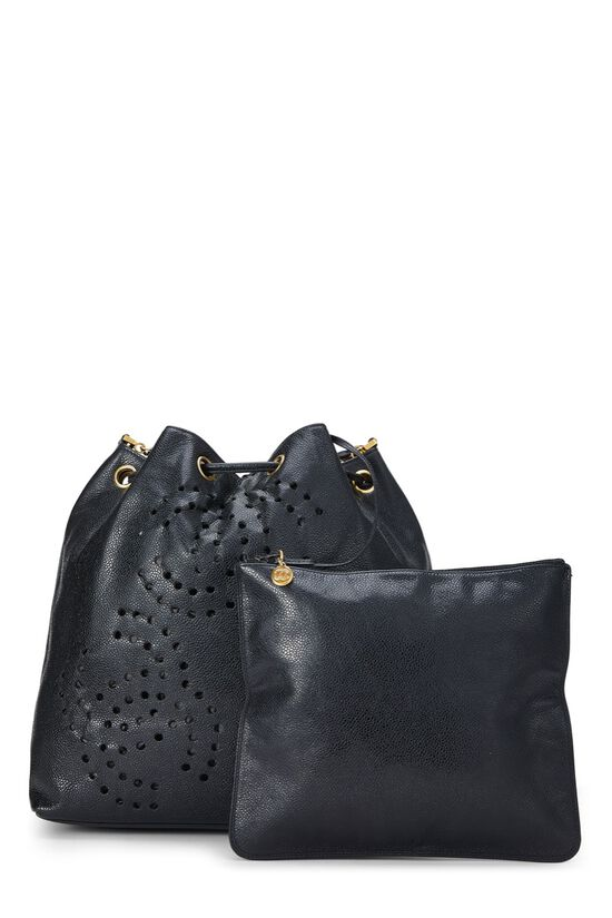 Black Caviar Leather Perforated Bucket Large, , large image number 3