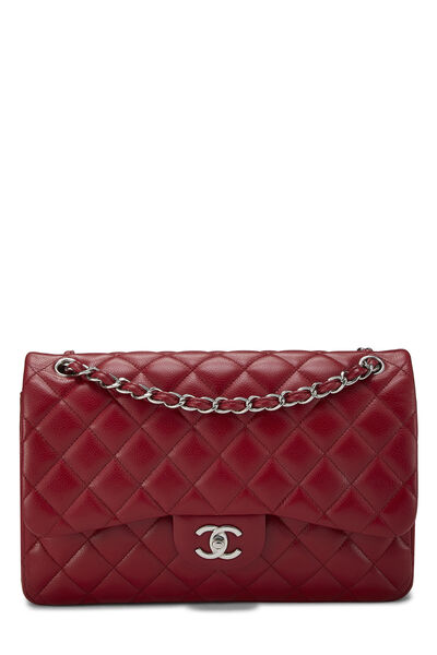 Red Quilted Caviar New Classic Flap Jumbo