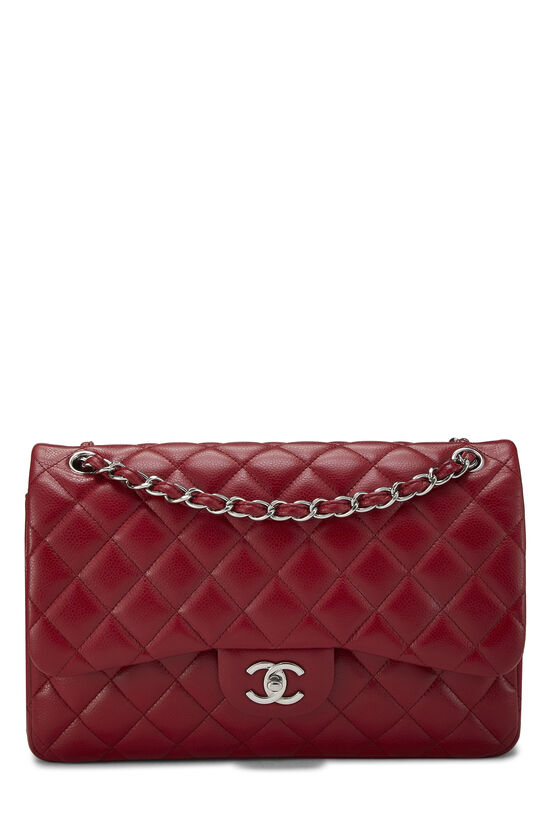 Red Quilted Caviar New Classic Flap Jumbo, , large image number 0