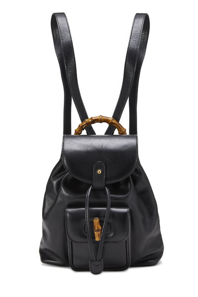 Black Leather Bamboo Backpack Mini