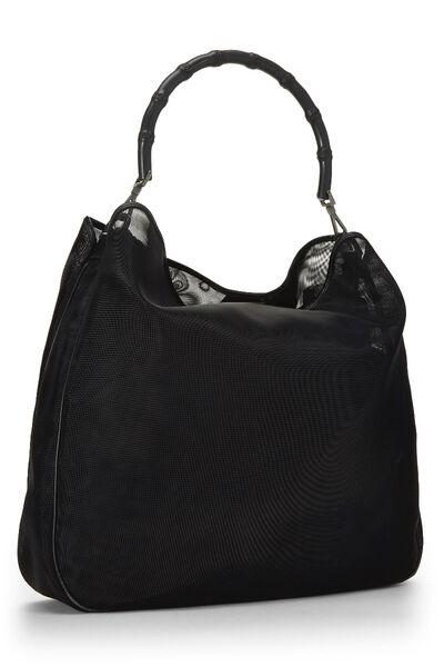 Black Mesh Bamboo Shoulder Bag, , large