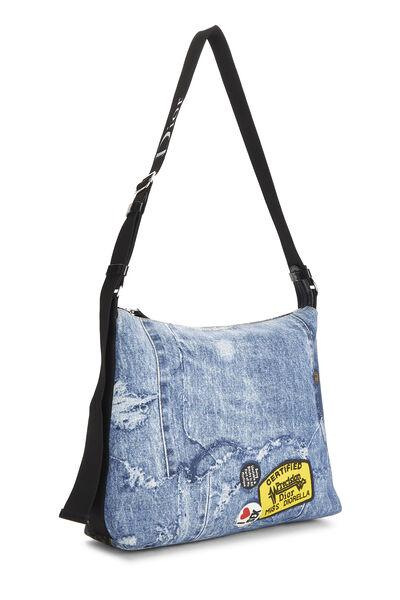 Blue Denim Canvas Diorella Messenger Bag, , large